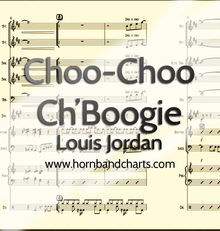 Choo-Choo Ch'Boogie Horn Chart PDF - Horn Band Charts