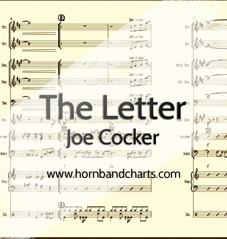 the letter joe cocker unchain my horn chart pdf horn band charts 25171