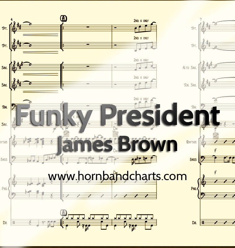 Funky President Horn Chart PDF - Horn Band Charts