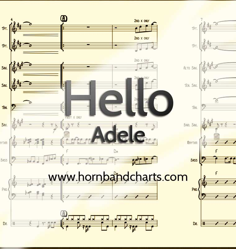 All Music Chords hello sheet music : Hello Horn Chart PDF - Horn Band Charts